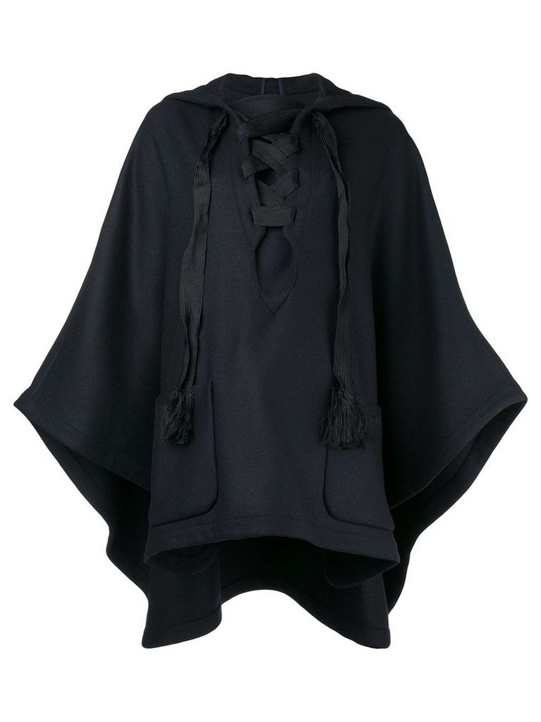 Semicouture hooded cape - Blue