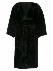 Fendi oversized sleeve wrap coat - Black