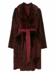 Yves Salomon tie coat - Red