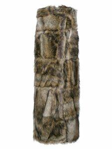 Stella McCartney faux fur sleeveless coat - Brown