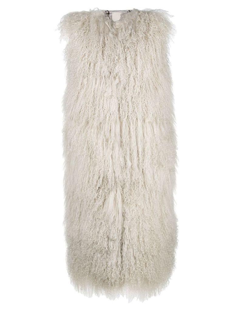 Giorgio Brato sleeveless oversized fur gilet - White