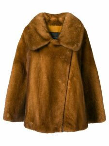 Blancha fur zipped coat - Brown
