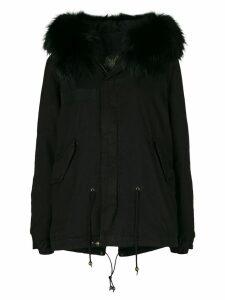 Mr & Mrs Italy fur hood short parka coat - Black