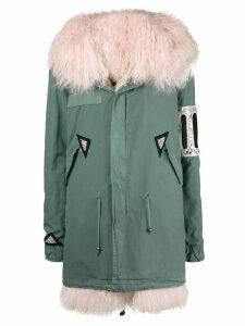 Mr & Mrs Italy crystal embellished parka coat - Green
