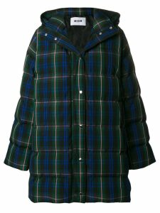 MSGM plaid quilted coat - Green