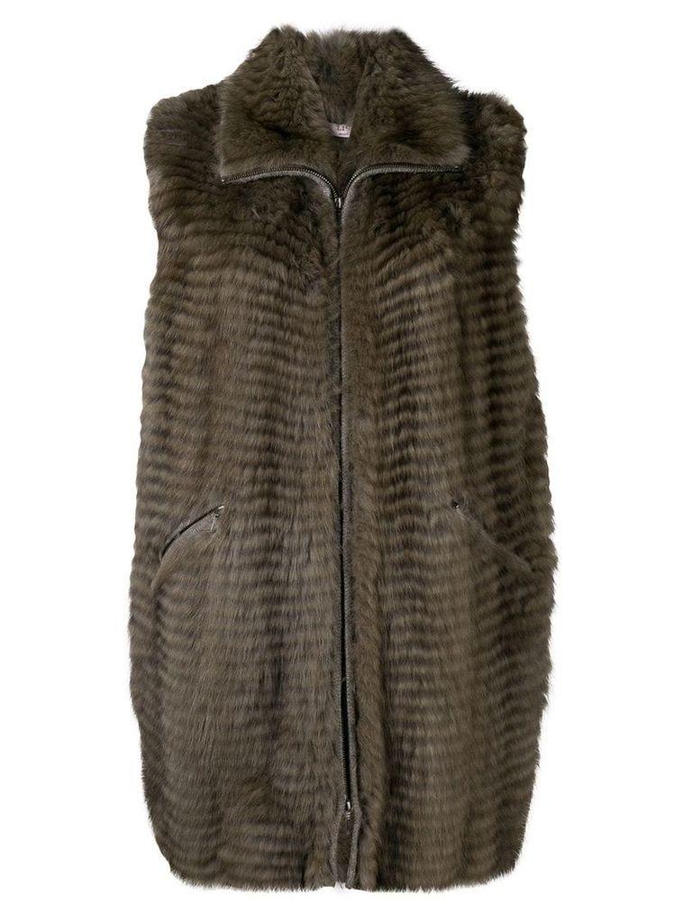 Liska sleeveless long length gilet - Brown