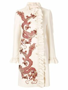 Gucci coat with embroidered dragons - NEUTRALS
