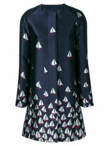 Talbot Runhof boat print coat - Blue