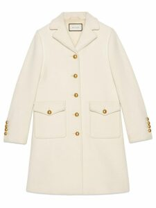Gucci Wool coat with Double G - White