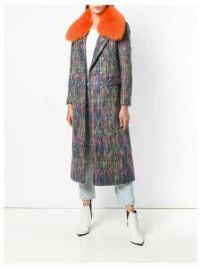 Giada Benincasa fur trimmed collar coat - Grey