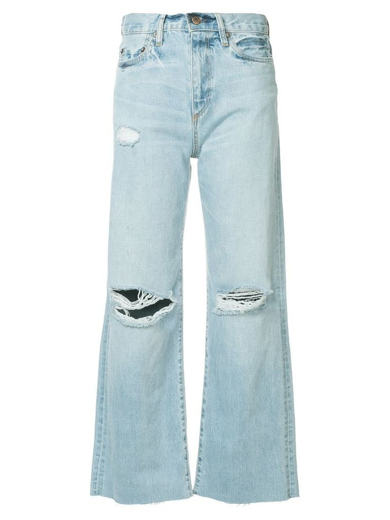 Simon Miller crop flared distressed jeans - Blue