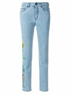 Mr & Mrs Italy cropped floral detail jeans - Blue