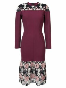 Yigal Azrouel floral lace detail dress - Red