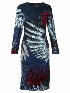 Romance Was Born short feather applique dress - Multicolour