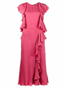 Alexander McQueen ruffled midi dress - PINK