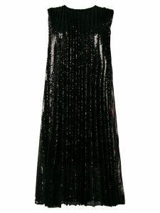 MSGM pleated floral panel shift dress - Black