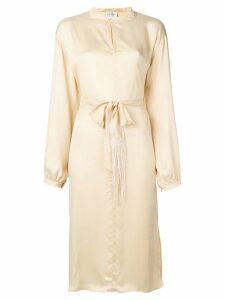 Forte Forte belted satin midi dress - NEUTRALS