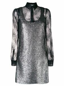 Boutique Moschino lace-embroidered mini dress - Metallic