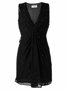 Saint Laurent point d'esprit mini dress - Black