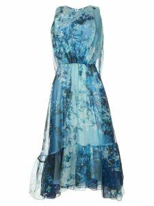 Isabel Sanchis baroque floral printed dress with cape back - Blue