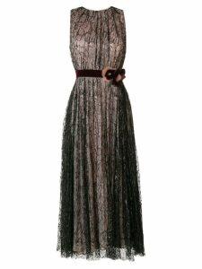 Talbot Runhof belted laminated dress - NEUTRALS
