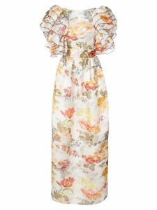 Rosie Assoulin floral print puff sleeve dress - White