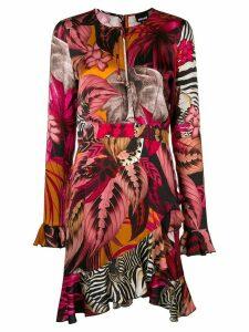 Just Cavalli asymmetric tropical-print dress - PINK