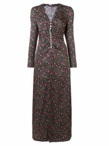 Miu Miu button-embellished printed maxi dress - Black