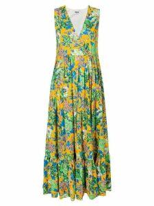 MSGM frill hem floral dress - Multicolour