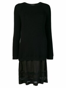 Moschino lace-panelled sweater dress - Black