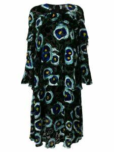 Talbot Runhof velvet floral print dress - Black