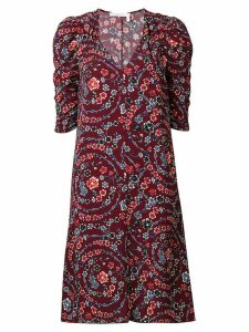 See by Chloé floral print ruched sleeves dress - Red