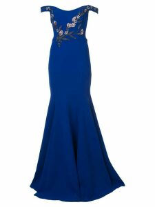 Marchesa Notte bead embroidered off the shoulder gown - Blue