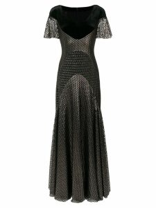 Talbot Runhof long glitter jersey gown - Black