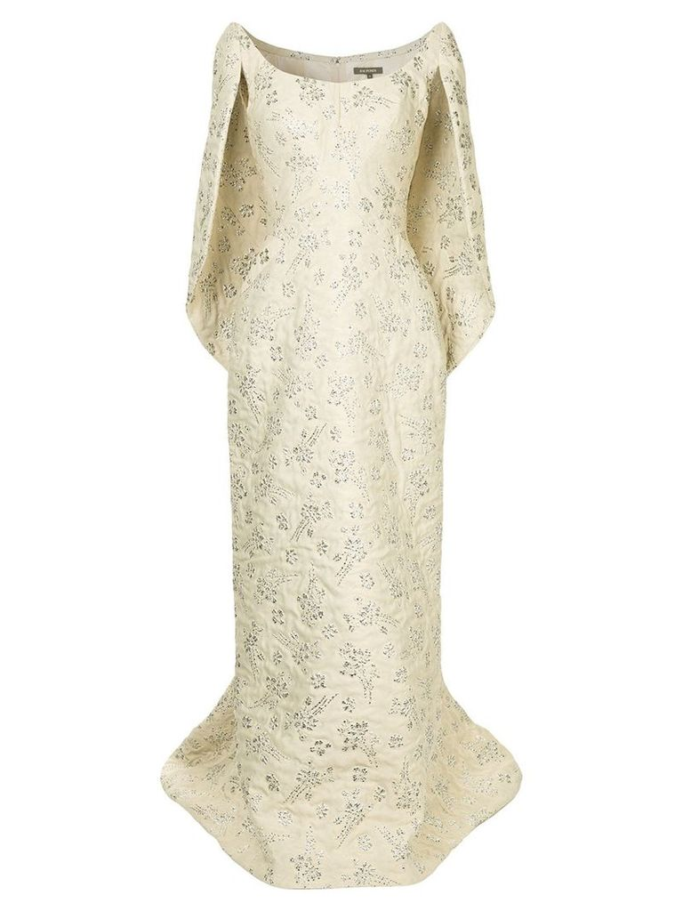 Zac Posen cape-effect gown - Nude & Neutrals