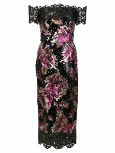 Marchesa Notte sequin embellished fitted dress - Black