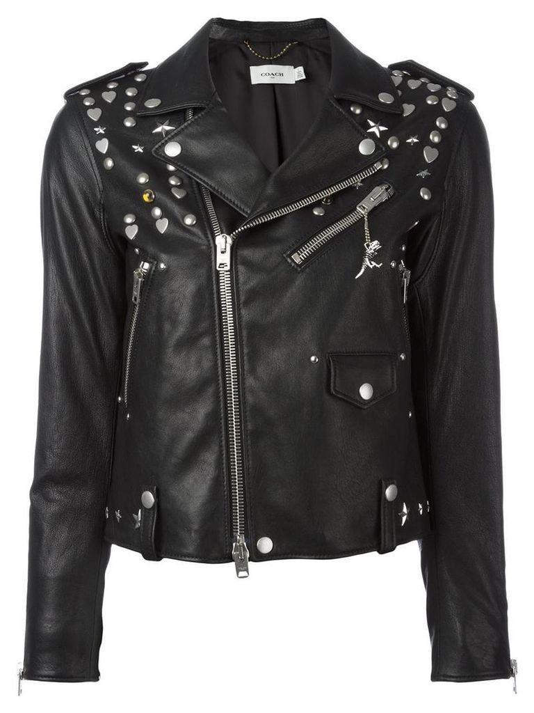 Coach multi-studded biker jacket - Black
