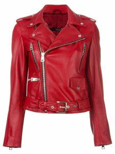 Manokhi belted zip detail jacket - Red