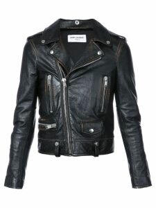 Saint Laurent cropped biker jacket - Black