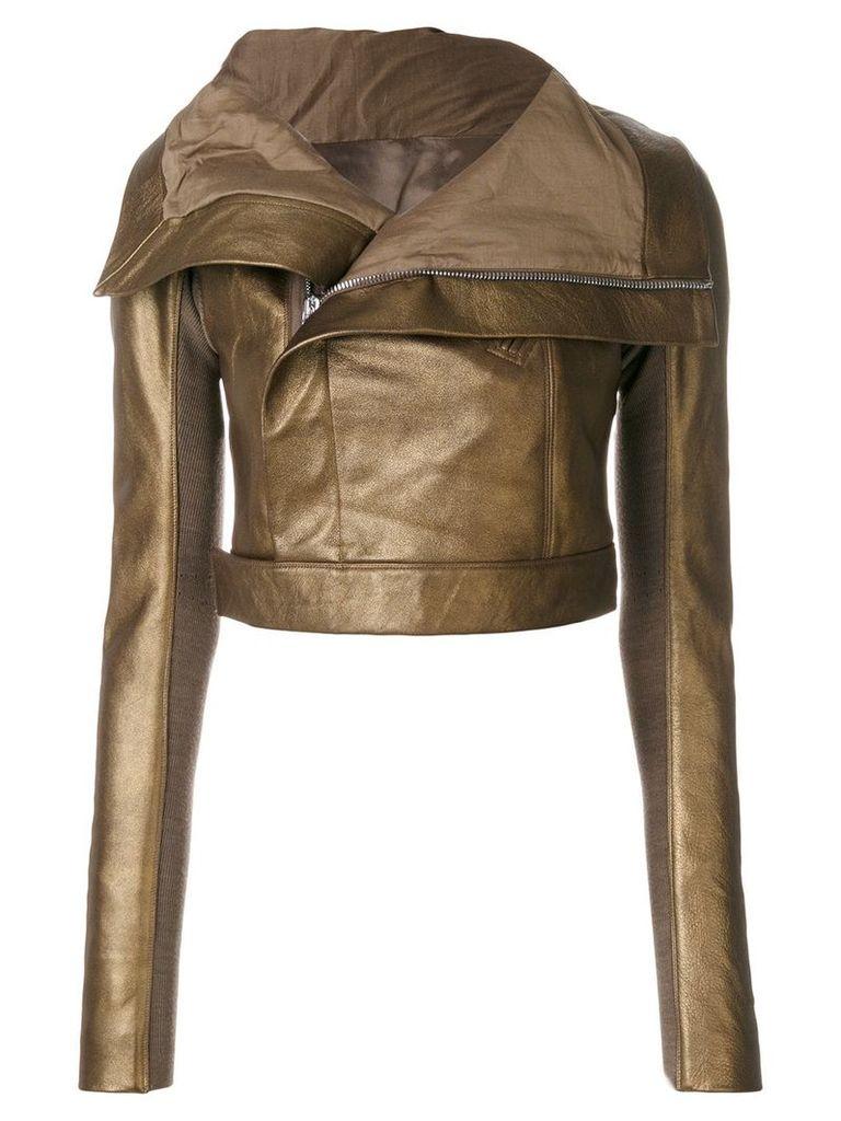 Rick Owens metallic cropped biker jacket