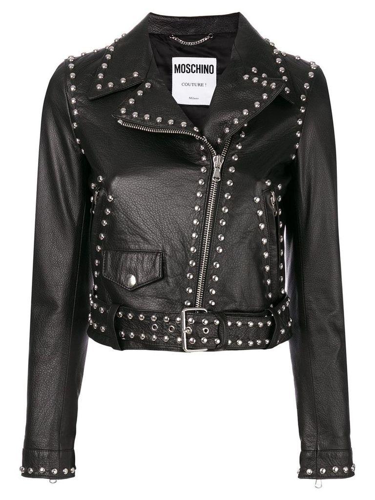 Moschino studded pebbled biker jacket - Black
