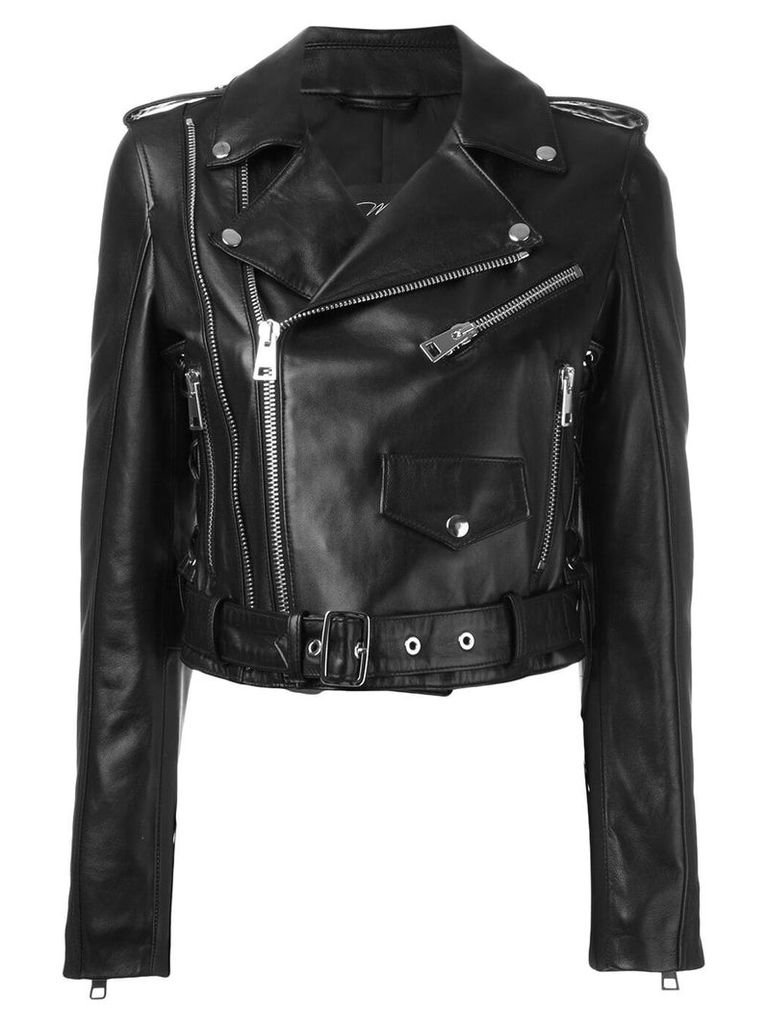 Manokhi cropped biker jacket - Black
