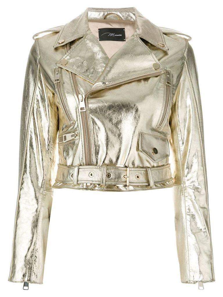 Manokhi cropped biker jacket - Metallic
