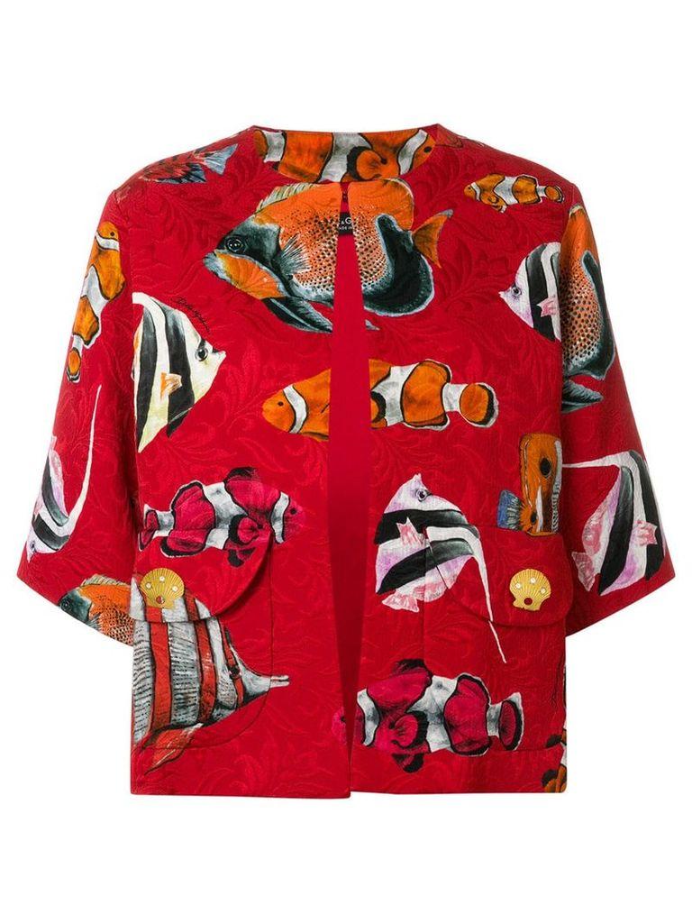 Dolce & Gabbana fish printed loose jacket - Red