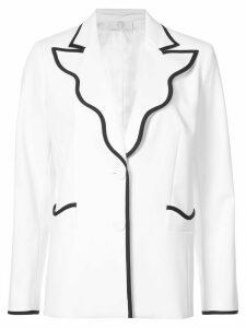 Sara Battaglia contrast-trim fitted blazer - White