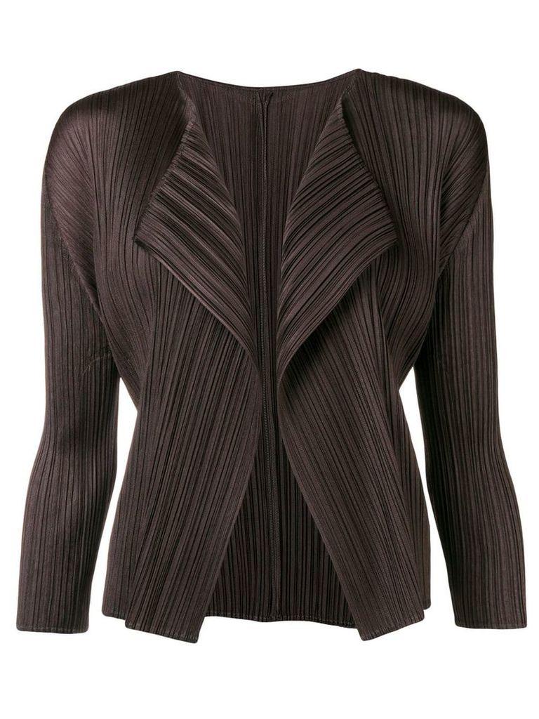Pleats Please By Issey Miyake pleated asymmetric jacket - Black