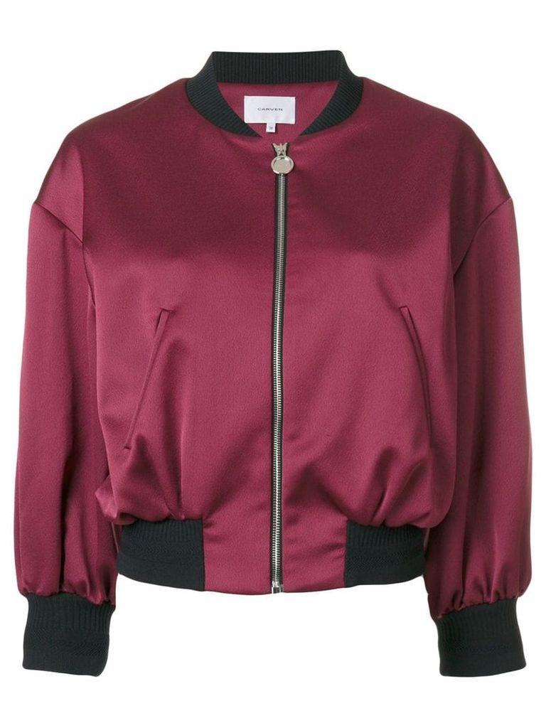 Carven cropped bomber jacket - Pink & Purple