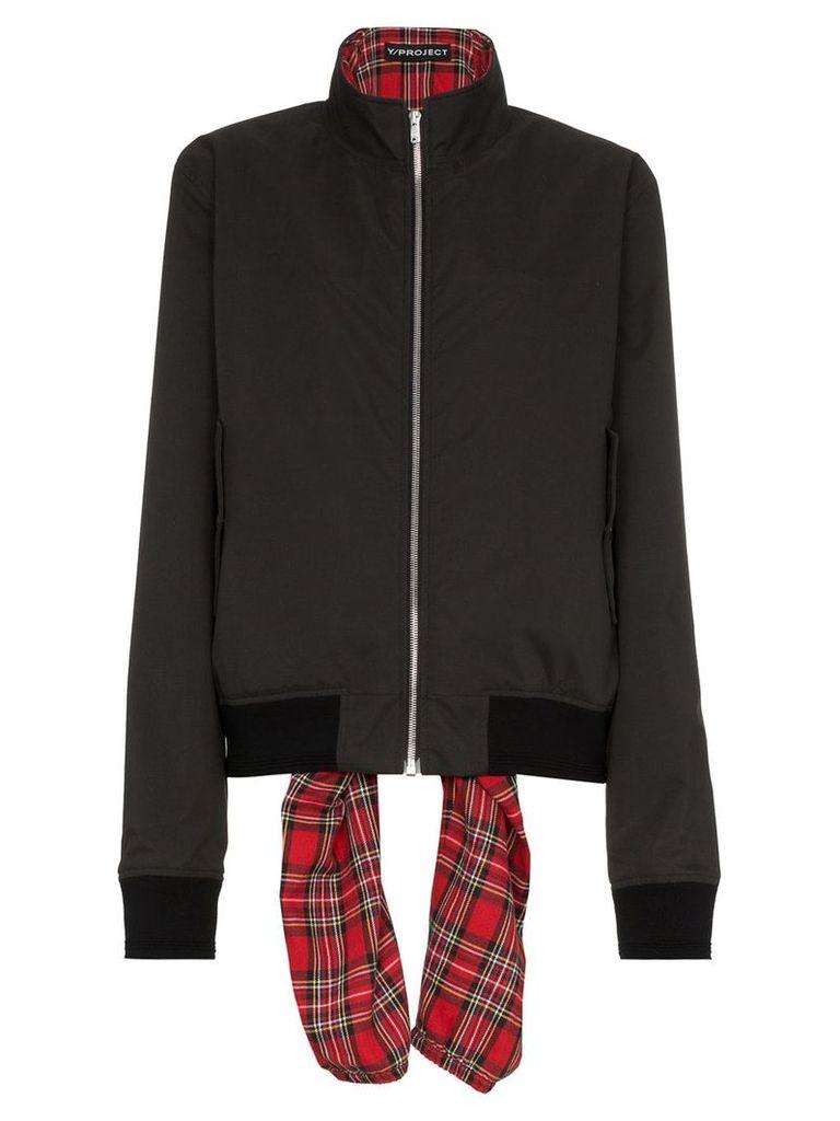 Y / Project tartan tie bomber jacket - Black