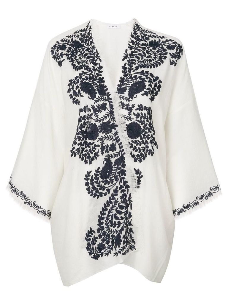 P.A.R.O.S.H. contrast embroidered kimono jacket - White