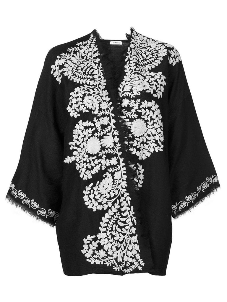 P.A.R.O.S.H. contrast embroidered kimono jacket - Black
